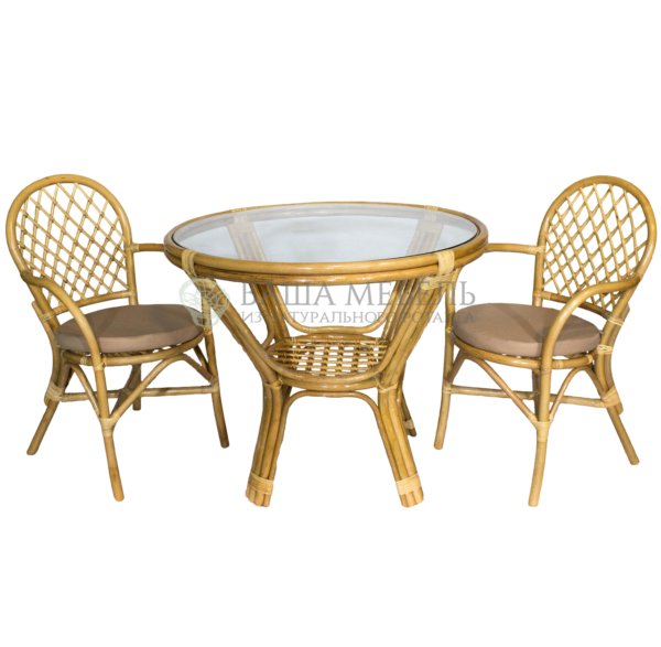 Комплект СОФИЯ дуэт с обеденным столом из натурального ротанга