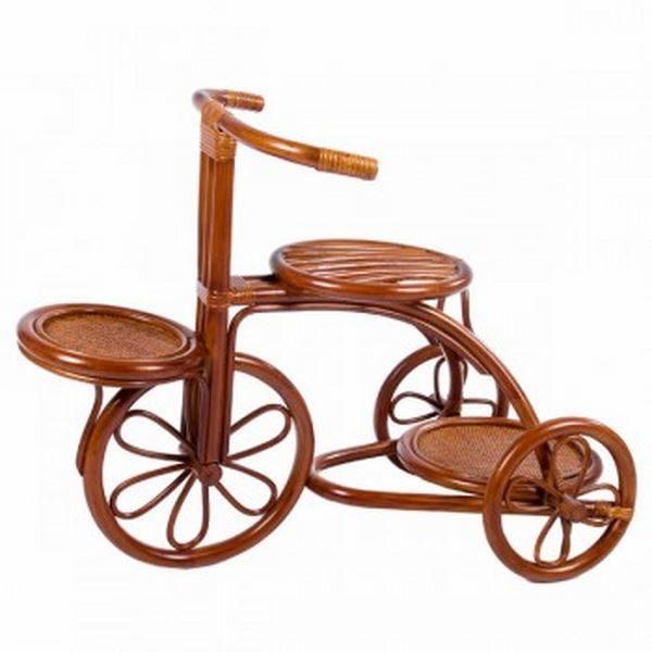 Цветочница Велосипед из натурального ротанга