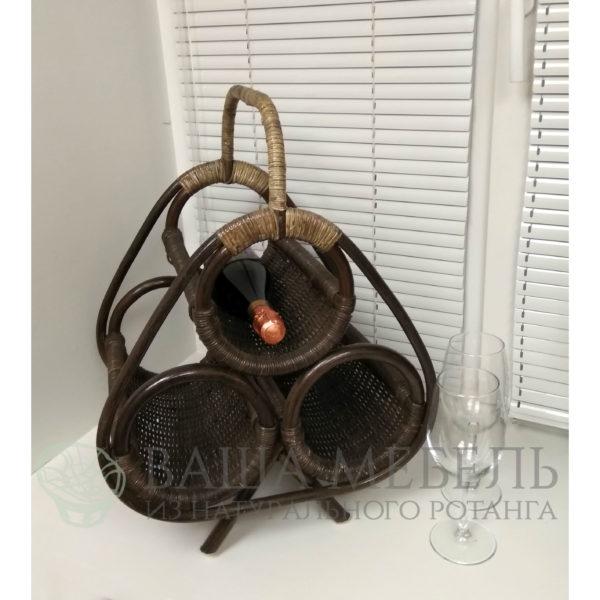Подставка для вина на 3 бутылки (бутылочница) из натурального ротанга