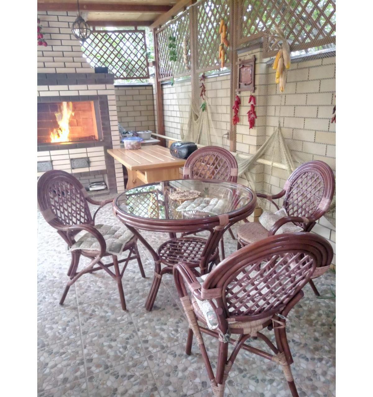 Комплект ЯВА квартет с обеденным столом из натурального ротанга
