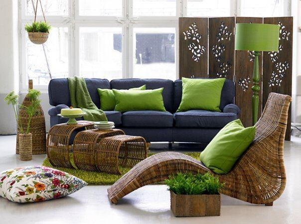 Мебель из ротанга в гостиной