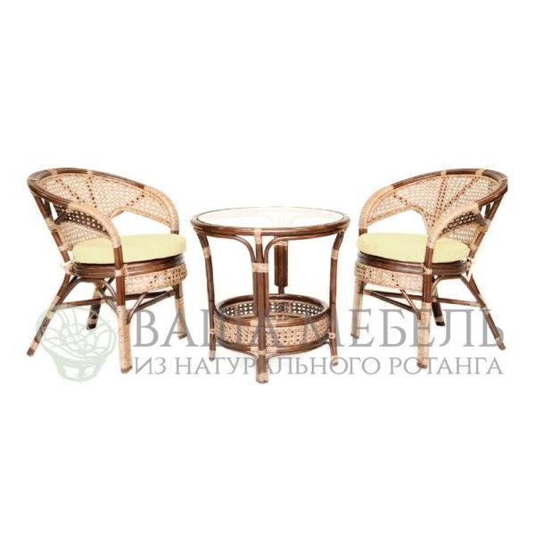 Комплект Пеланги дуэт с круглым столом из натурального ротанга