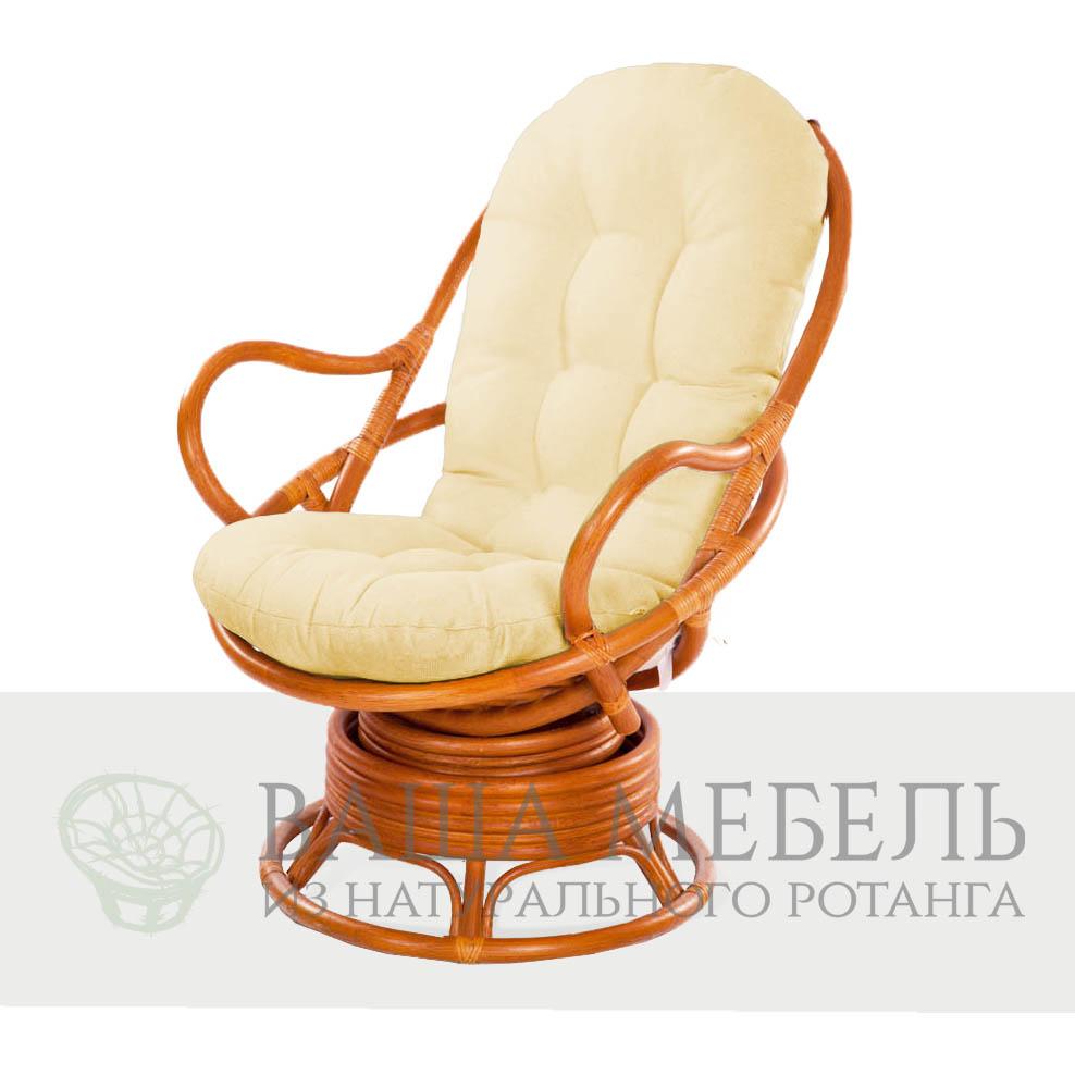Кресло Хельсинки вращающееся из натурального ротанга