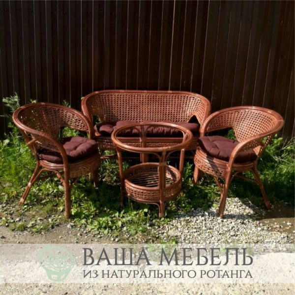 Комплект Пеланги Семейный с круглым столом из натурального ротанга (уценка)
