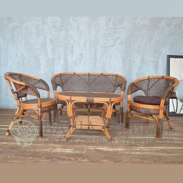 Комплект Пеланги Семейный с овальным столом из натурального ротанга(two tone)