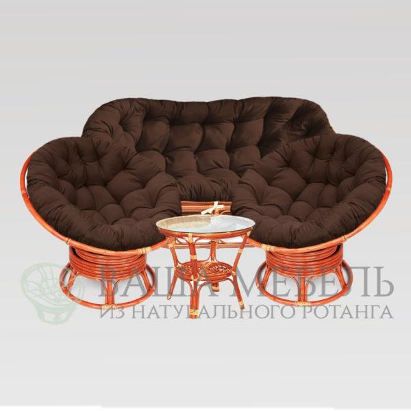 Набор : диван Мамасан, 2 кресла Папасан вращающиеся и стол Багама