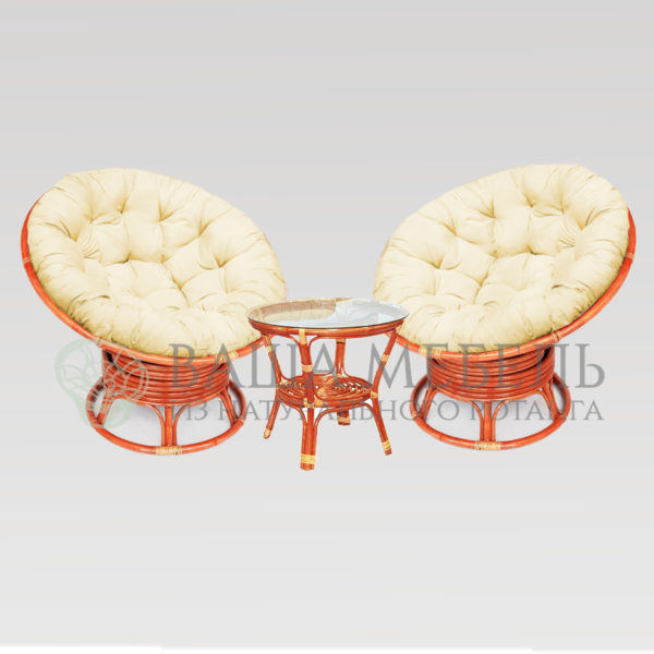 Набор: 2 кресла Папасан вращающиеся и стол Багама