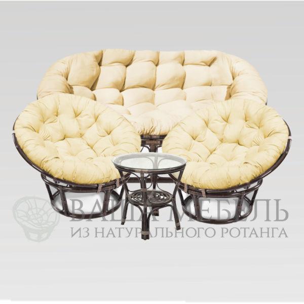 Набор : диван Мамасан MAX, 2 кресла Папасан MAX и стол Багама