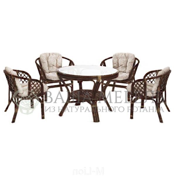 Набор стол обеденный и четыре кресла Багама из натурального ротанга.