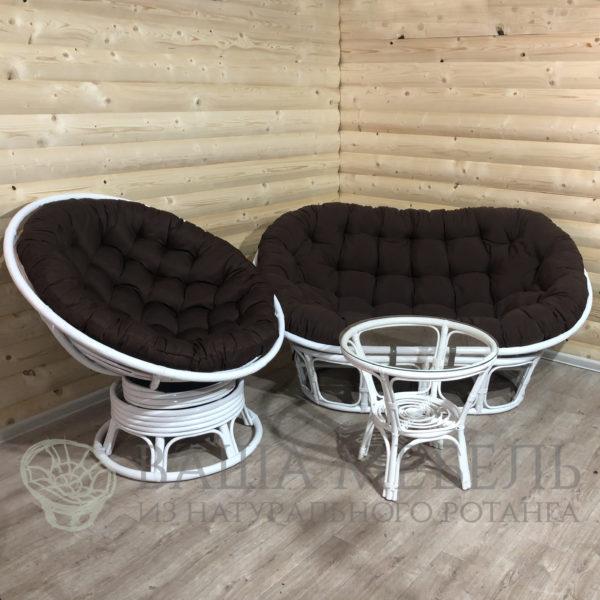 Набор : диван Мамасан, кресло Папасан вращающееся и стол Багама в белом цвете