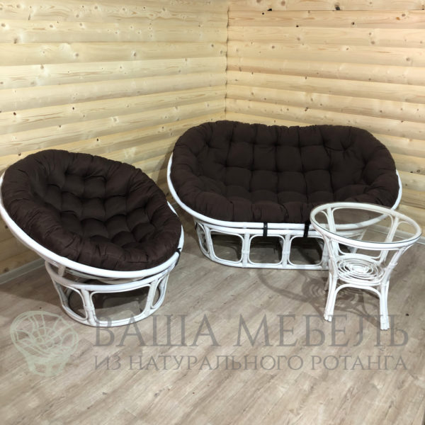 Набор : диван Мамасан, кресло Папасан и стол Багама в белом цвете