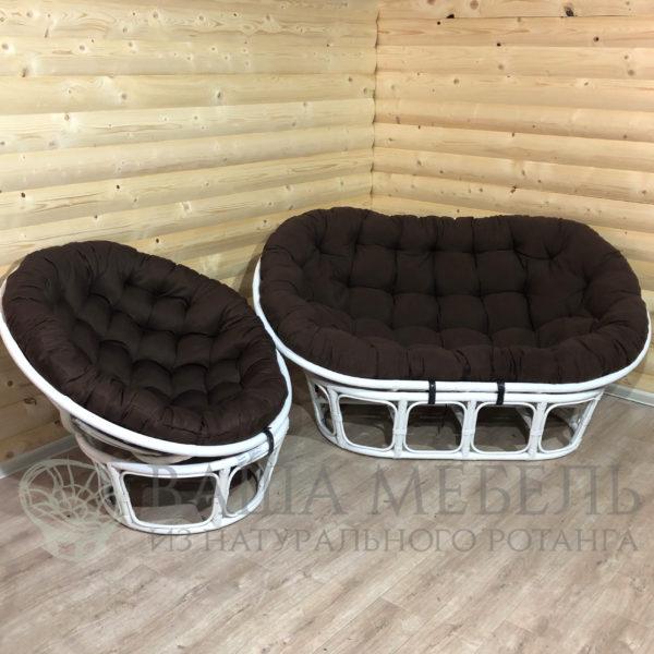 Набор : диван Мамасан и кресло Папасан в белом цвете