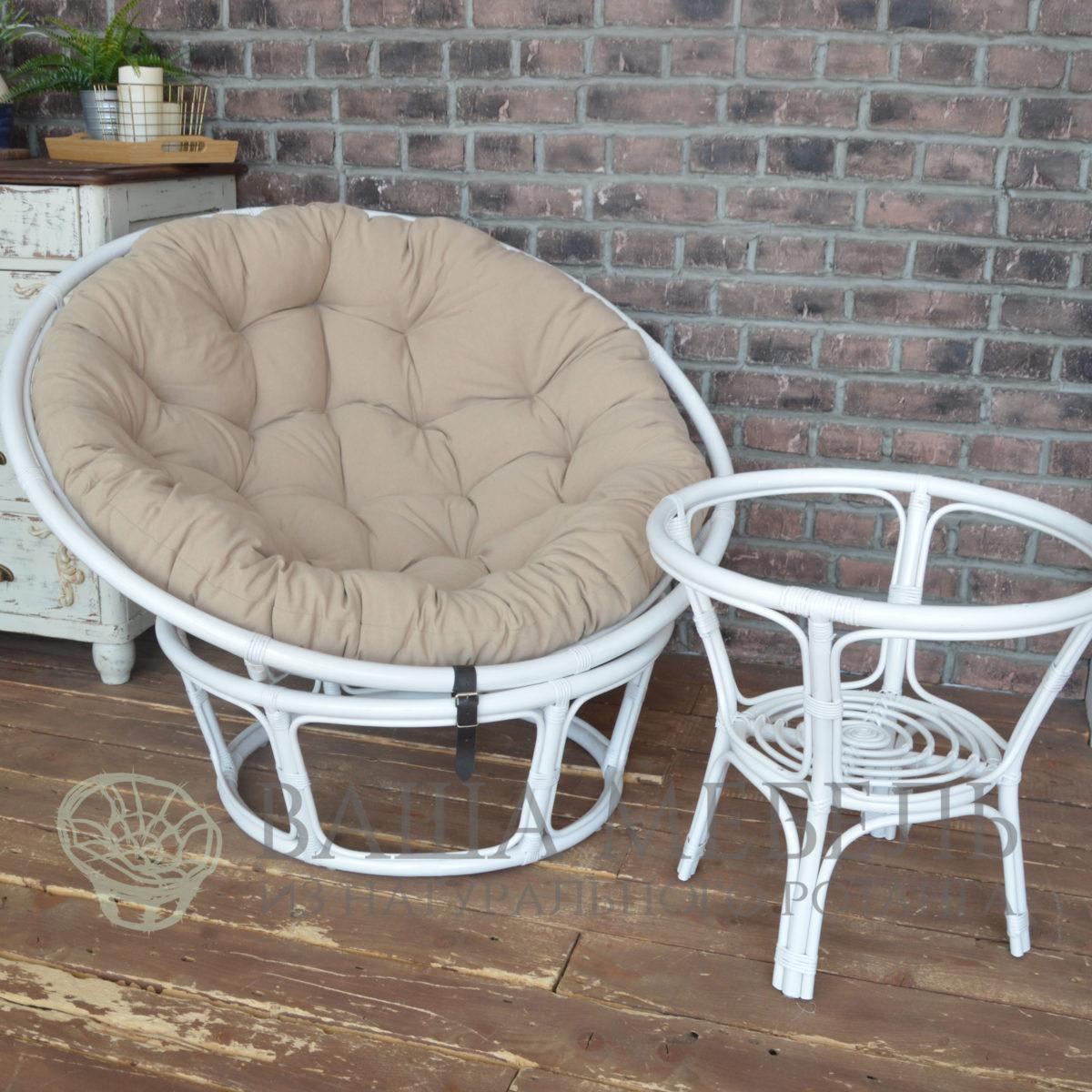 Кресло Папасан MAX в белом цвете из натурального ротанга