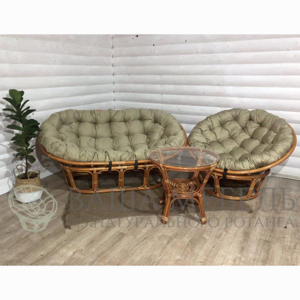 Набор : диван Мамасан, кресло Папасан и стол Багама из натурального ротанга.