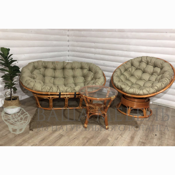 Набор : диван Мамасан, кресло Папасан вращающееся и стол Багама из натурального ротанга