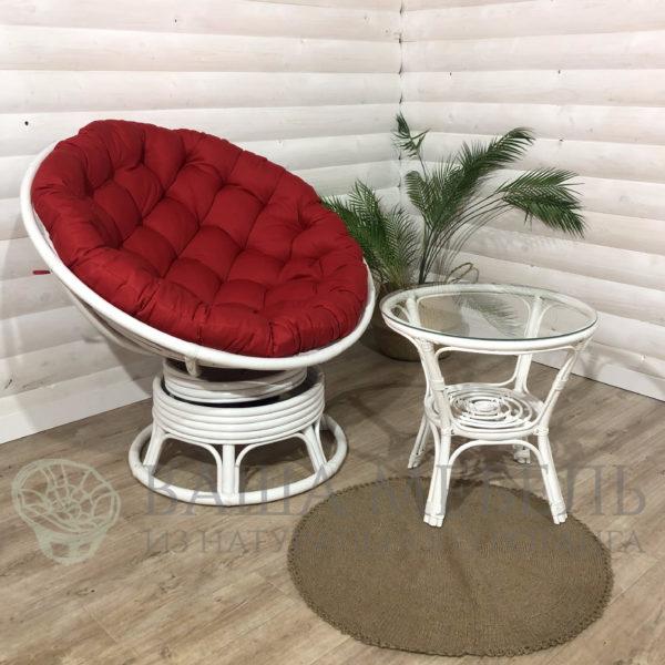 Кресло Папасан вращающееся и стол Багама в белом цвете из натурального ротанга