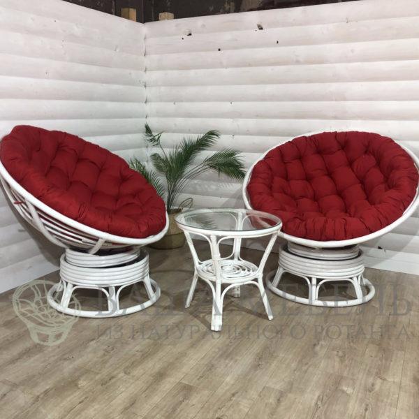 Набор: 2 кресла Папасан вращающиеся и стол Багама в белом цвете