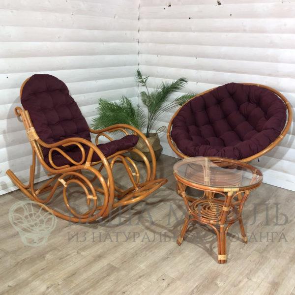 Набор: кресло Папасан вращающееся, кресло-качалка и стол Багама из натурального ротанга
